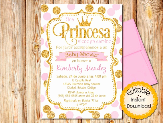 Spanish Baby Shower Invitation Awesome Spanish Royal Princess Baby Shower Invitation Espanol Girl
