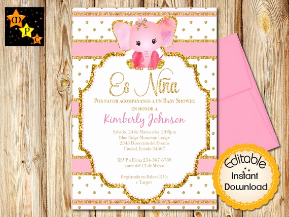 Spanish Baby Shower Invitation Best Of Spanish Baby Shower Invitation Girl Pink and Gold Elephant