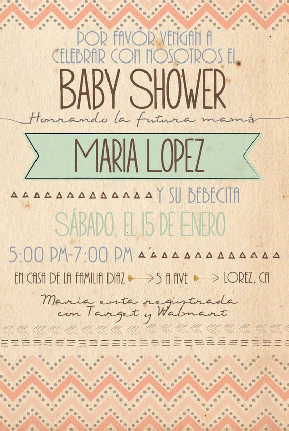 Spanish Baby Shower Invitation Elegant Items Similar to Spanish Custom Chevron 4x6 Baby Shower
