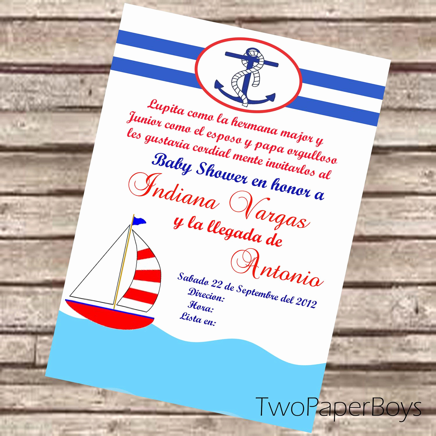 Spanish Baby Shower Invitation Elegant Natical or Marine Baby Shower Invitation In Spanish or