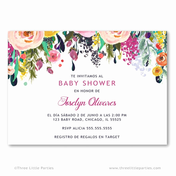 Spanish Baby Shower Invitation Fresh Invitacion Baby Shower Español Flower Baby Shower Invitation