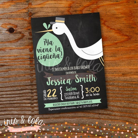 Spanish Baby Shower Invitation Fresh Spanish Ciguena Baby Shower Printable Digital Invitation