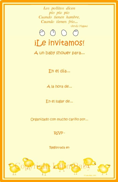 Spanish Baby Shower Invitation Inspirational Another Los Pollitos Baby Shower Invitation In Spanish