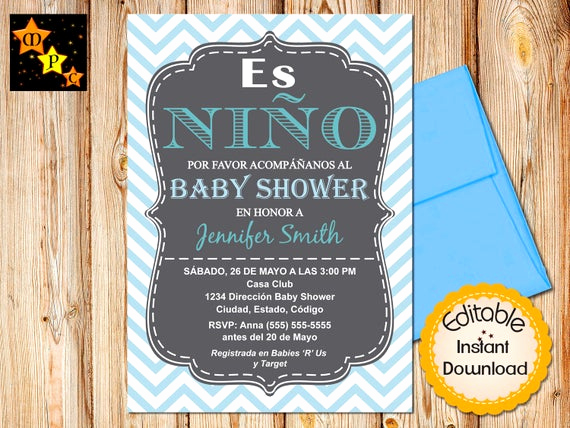 Spanish Baby Shower Invitation Inspirational Spanish Baby Shower Invitation Boy Chevron Blue Editable