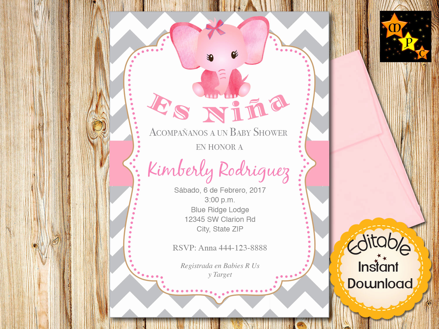 Spanish Baby Shower Invitation Inspirational Spanish Baby Shower Invitation Girl Pink Elephant Gray