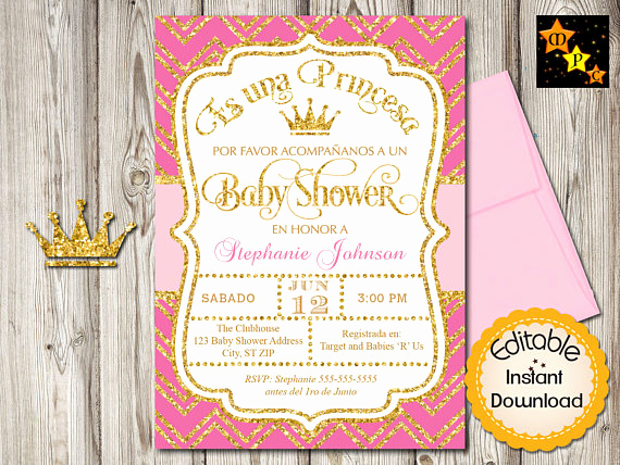 Spanish Baby Shower Invitation Inspirational Spanish Baby Shower Princess Invitation Girl Hot Pink and