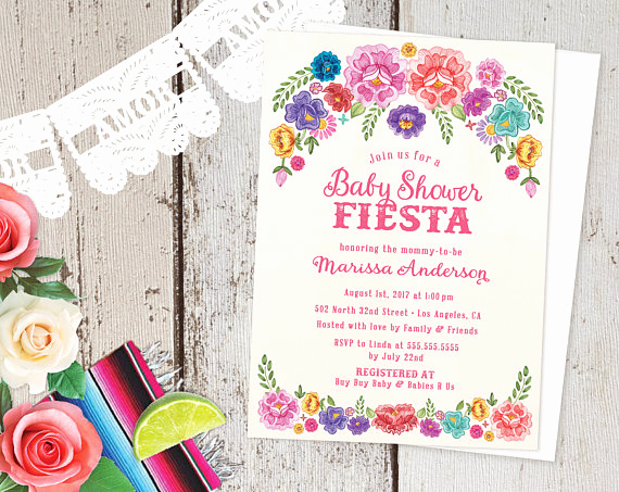 Spanish Baby Shower Invitation Luxury Mexican Fiesta theme Baby Shower Invitations Spanish Floral