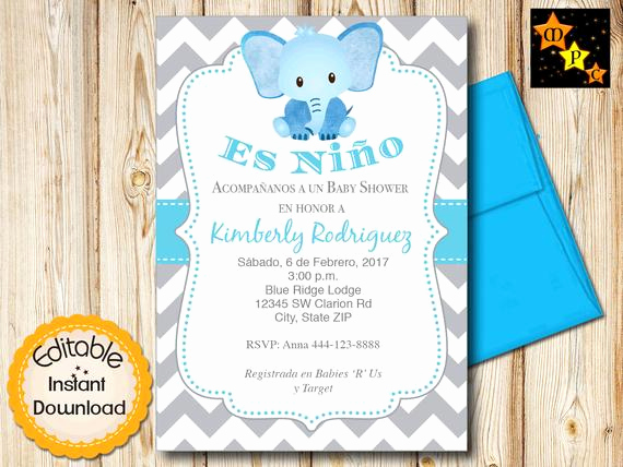 Spanish Baby Shower Invitation Luxury Spanish Baby Shower Invitation Boy Blue Elephant and Gray