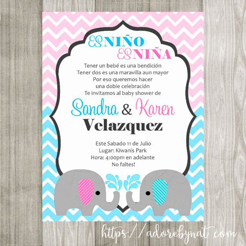 Spanish Baby Shower Invitation New Twin Baby Elephant Invitations