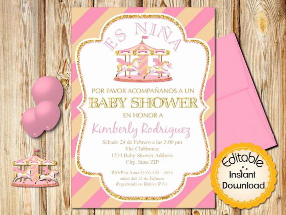 Spanish Baby Shower Invitation Unique Spanish Baby Shower Invitation Girl Pink and Gold Carousel