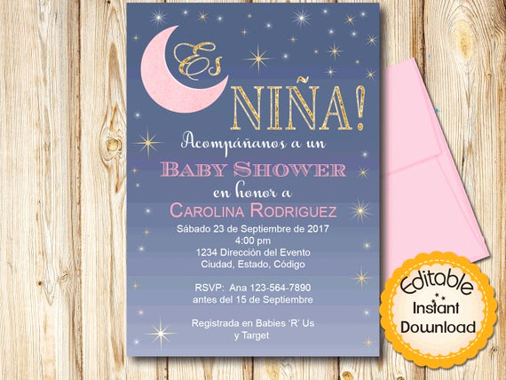 Spanish Baby Shower Invitation Unique Spanish Baby Shower Invitation Moon theme Girl Pink Gold