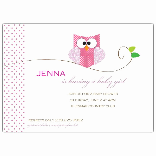 Spanish Baby Shower Invitation Wording Awesome Owl Girl Baby Shower Invitations