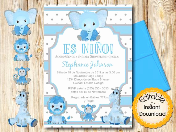 Spanish Baby Shower Invitation Wording Beautiful Spanish Safari Baby Shower Invitation Boy Blue and Gray