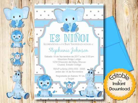 Spanish Baby Shower Invitation Wording Beautiful Spanish Safari Baby Shower Invitation Boy Blue and Gray
