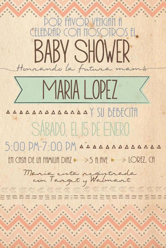 Spanish Baby Shower Invitation Wording Best Of Items Similar to Spanish Custom Chevron 4x6 Baby Shower
