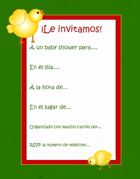 Spanish Baby Shower Invitation Wording Best Of Pollito Spanish Baby Shower Invitation Printable