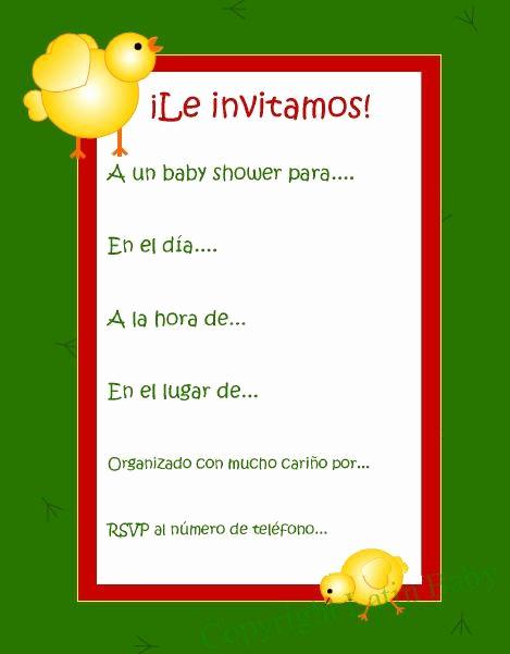 Spanish Baby Shower Invitation Wording Best Of Pollito Spanish Baby Shower Invitation Printable