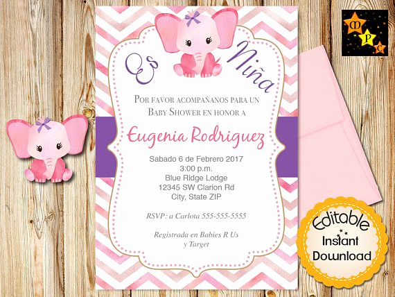 Spanish Baby Shower Invitation Wording Best Of Spanish Baby Shower Invitation Girl Pink Watercolor