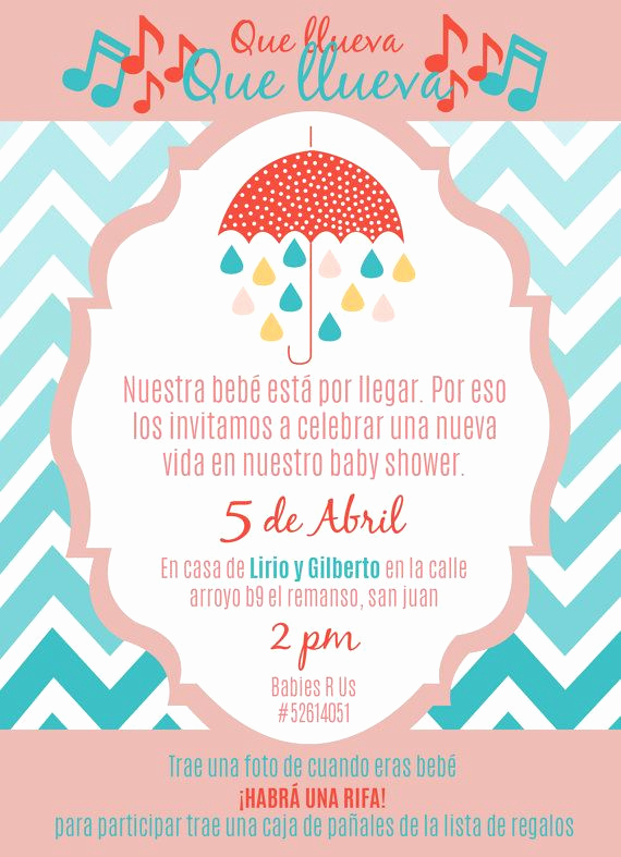 "Spanish Baby Shower Invitation Wording Elegant Baby Girl Shower Invite In Spanish 5 25"" X 7 25"