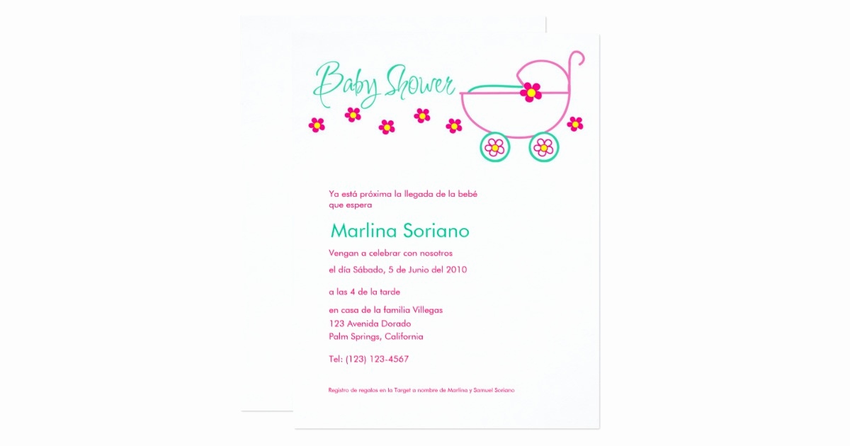 Spanish Baby Shower Invitation Wording Elegant Baby Shower Invitation En Español Spanish Card