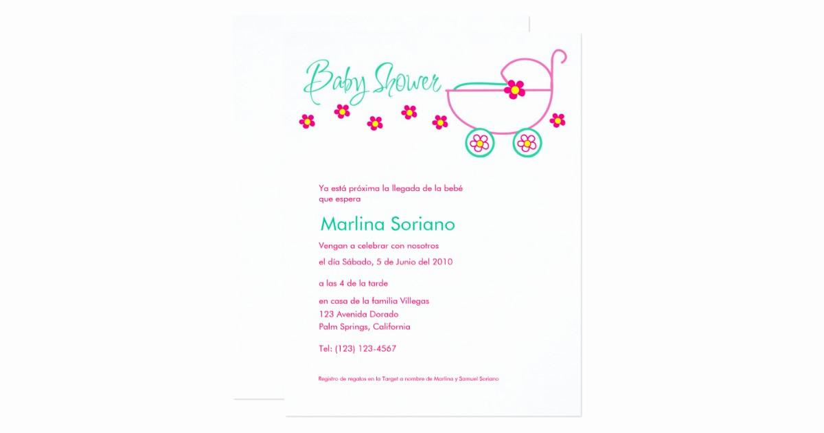 Spanish Baby Shower Invitation Wording Elegant Baby Shower Invitation En Español Spanish Card
