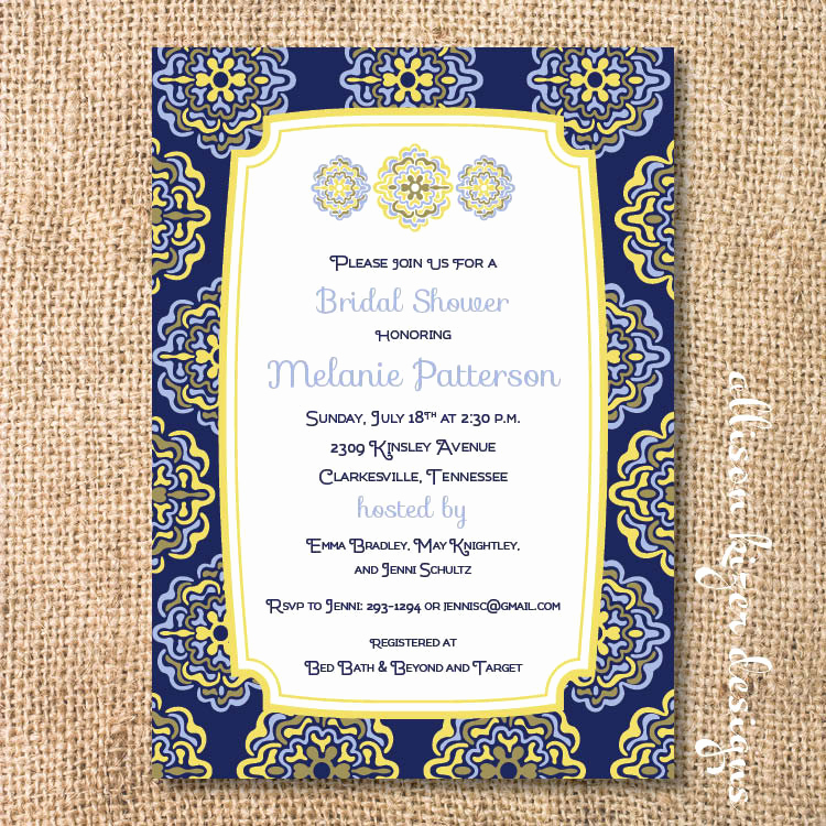 Spanish Baby Shower Invitation Wording Fresh Moroccan Bridal Shower Tapas Party Navy and Yellow Baby Shower
