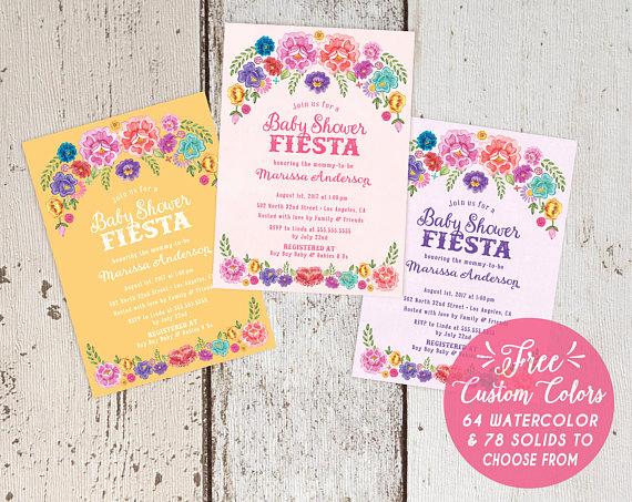 Spanish Baby Shower Invitation Wording Inspirational Mexican Fiesta theme Baby Shower Invitations Spanish Floral