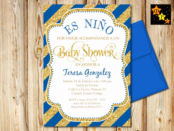 Spanish Baby Shower Invitation Wording Inspirational Spanish Baby Shower Invitation Boy Blue and Gold Diagonal