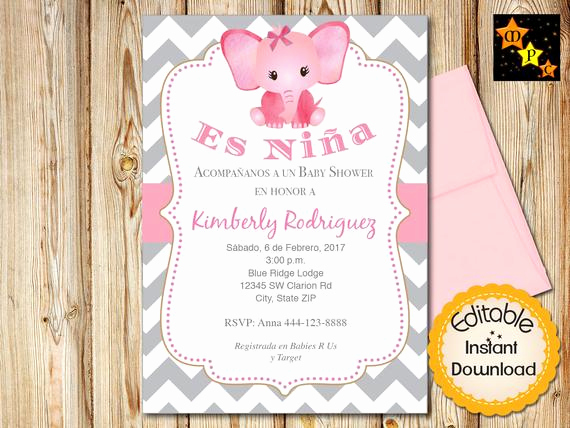 Spanish Baby Shower Invitation Wording Inspirational Spanish Baby Shower Invitation Girl Pink Elephant Gray