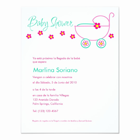 Spanish Baby Shower Invitation Wording Luxury Baby Shower Invitation En Español Spanish Invitation