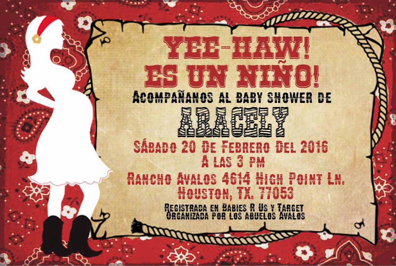 spanish custom 4x6 western baby shower