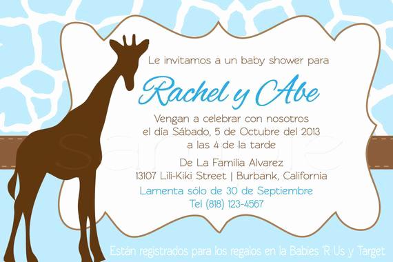 Spanish Baby Shower Invitation Wording Unique Items Similar to Spanish Giraffe Baby Shower Invitations