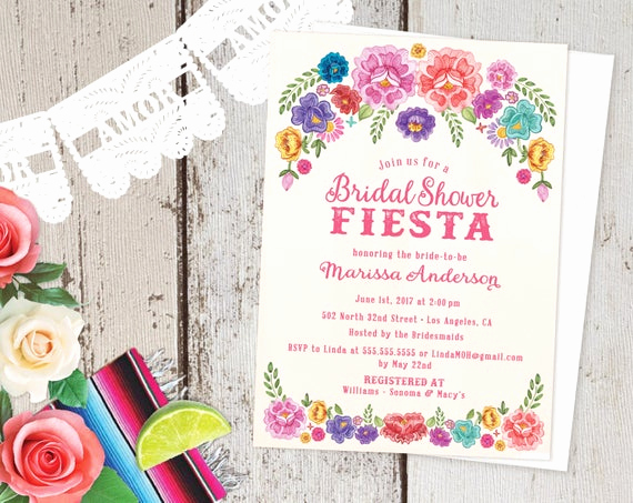 Spanish Birthday Invitation Wording Beautiful Mexican Fiesta theme Floral Bridal Shower Invitations