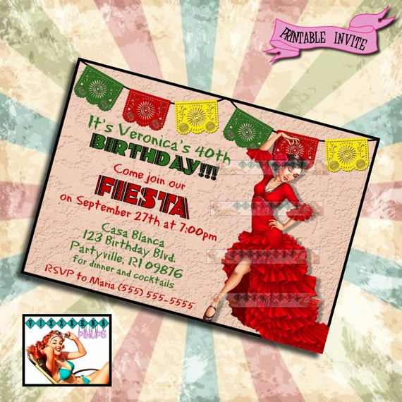 Spanish Birthday Invitation Wording Inspirational Pinup Birthday Invitation Feista Mexican Spanish Party Pin Up
