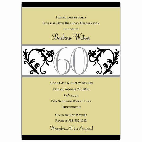 Spanish Birthday Invitation Wording Luxury Elegant Vine Chartreuse 60th Birthday Invitations