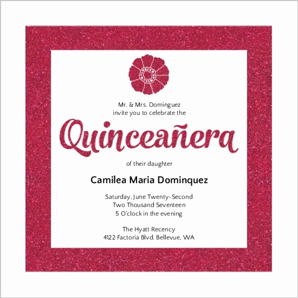 Spanish Quinceanera Invitation Wording Best Of Modern Pink Faux Glitter Quinceanera Invitation