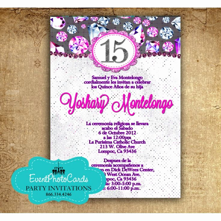 Spanish Quinceanera Invitation Wording Lovely Purple Fuchsia Quinceanera Invitations In Spanish