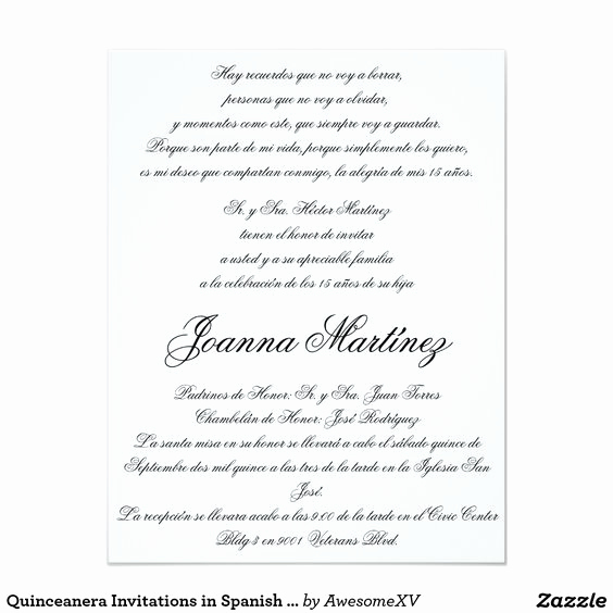 Spanish Quinceanera Invitation Wording Luxury Quinceanera Invitations In Spanish and Quinceanera On