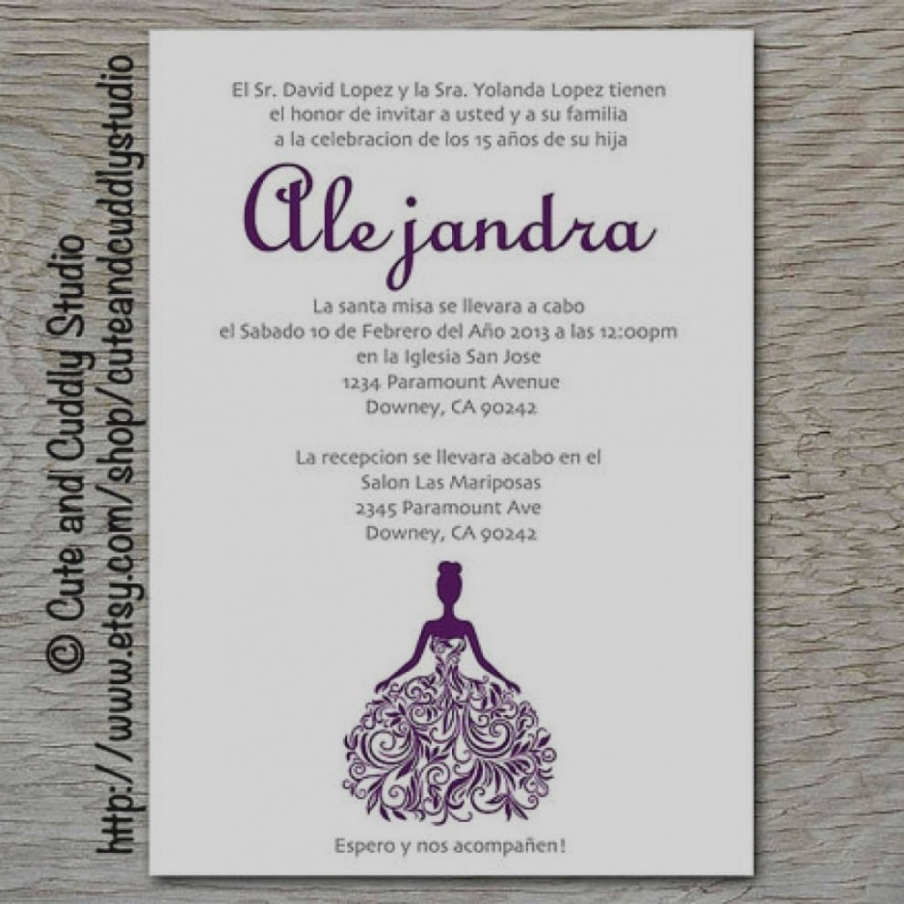Spanish Quinceanera Invitation Wording New Quinceanos Invitations Wording Samples In Spanish
