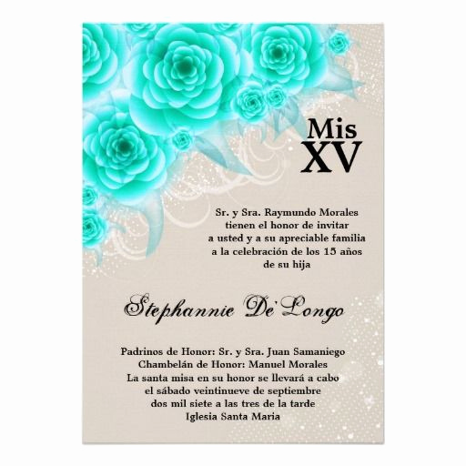 Spanish Quinceanera Invitation Wording Unique 5x7 Aqua Roses Quinceanera Birthday Invitation