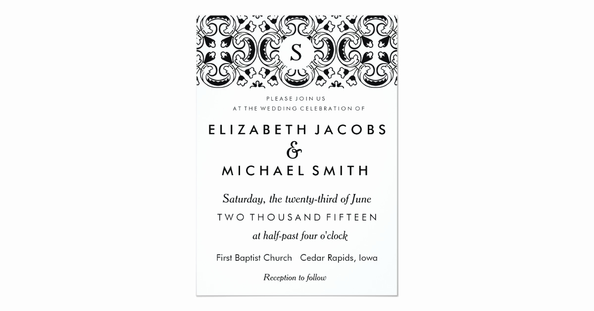 Spanish Wedding Invitation Wording Awesome Black & White Spanish Tile Wedding Invitation