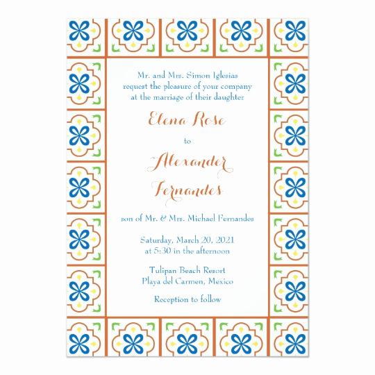 Spanish Wedding Invitation Wording Awesome Talavera Spanish Tile Wedding Invitation