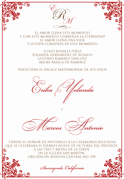 Spanish Wedding Invitation Wording Awesome Wedding Invitation Font