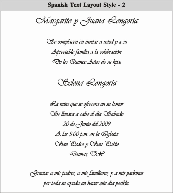 Spanish Wedding Invitation Wording Best Of Spanish Quinceanera Invitation Dinner Wording Car
