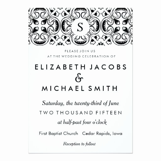 Spanish Wedding Invitation Wording Fresh Black & White Spanish Tile Wedding Invitation