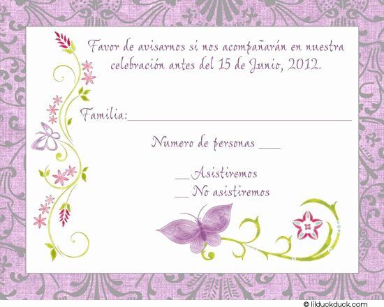 Spanish Wedding Invitation Wording Inspirational Purple Spanish butterfly Response Card