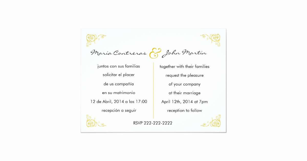 Spanish Wedding Invitation Wording Lovely Bilingual English Spanish Wedding Invitation