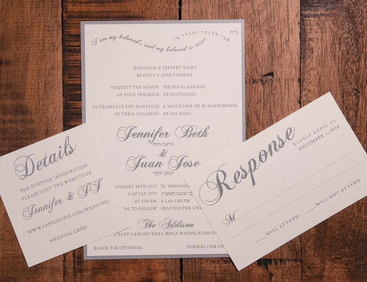 bilingual wedding invitation spanish