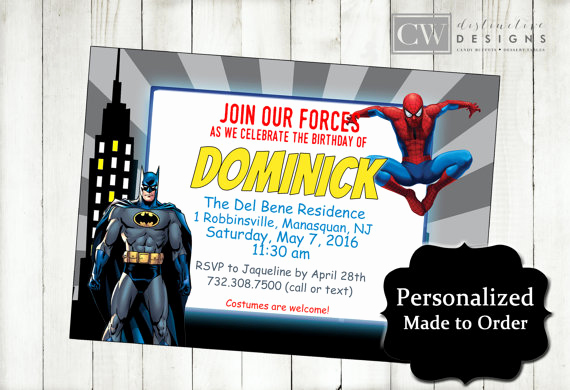 Spiderman Birthday Invitation Maker Best Of Batman Spiderman Birthday Invitations Spiderman Invitations