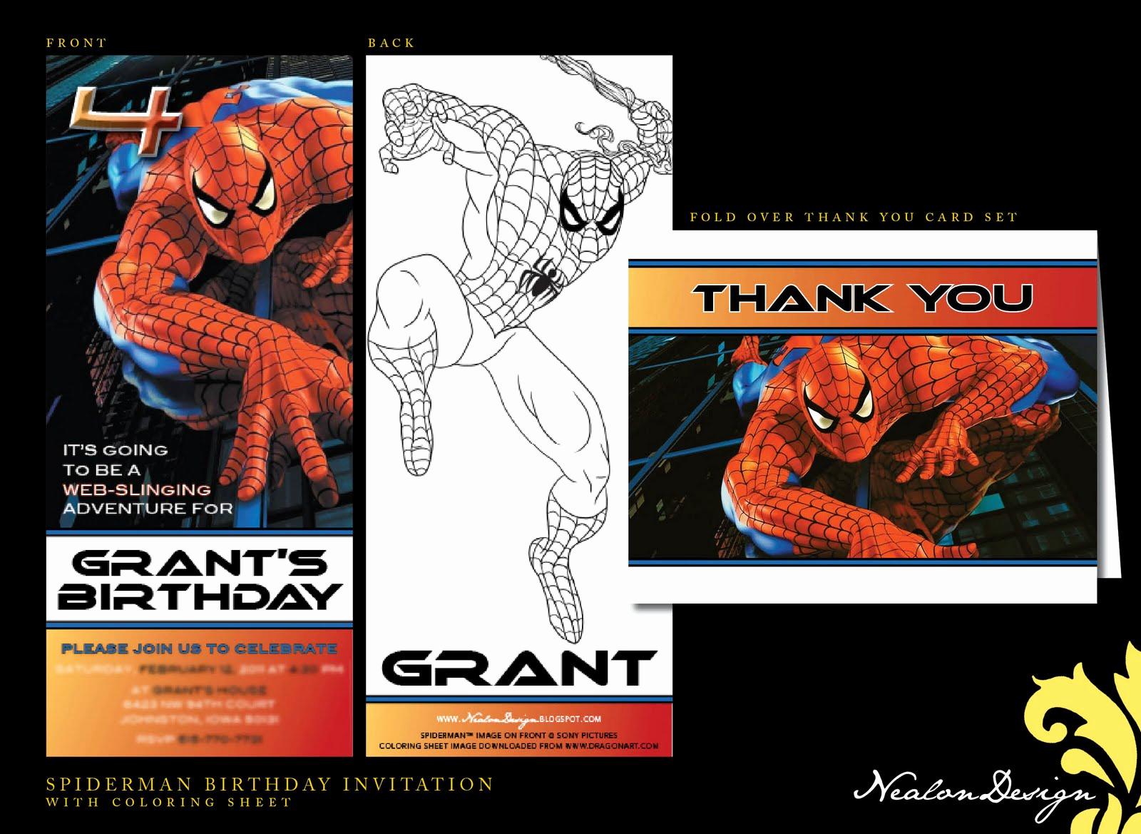Spiderman Birthday Invitation Maker Inspirational Nealon Design Spiderman Birthday Invitation